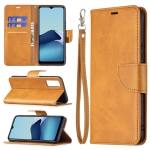 For vivo Y20 Retro Lambskin Texture Pure Color Horizontal Flip PU Leather Case with Holder & Card Slots & Wallet & Lanyard(Yellow)
