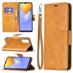 For vivo Y51 2020 / Y51a / Y51s Retro Lambskin Texture Pure Color Horizontal Flip PU Leather Case with Holder & Card Slots & Wallet & Lanyard(Yellow)