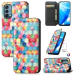 For OnePlus Nord N200 5G Colorful Magnetic Horizontal Flip PU Leather Case with Holder & Card Slot & Wallet(Magic Space)