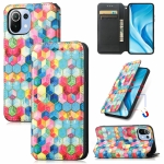 For Xiaomi Mi 11 Lite Colorful Magnetic Horizontal Flip PU Leather Case with Holder & Card Slot & Wallet(Magic Space)