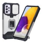 For Samsung Galaxy A72 5G Sliding Camera Cover Design PC + TPU Shockproof Case with Ring Holder & Card Slot(Silver)