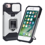 Sliding Camera Cover Design PC + TPU Shockproof Case with Ring Holder & Card Slot For iPhone SE 2020 / 8 / 7 / 6s / 6(Silver)