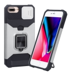 Sliding Camera Cover Design PC + TPU Shockproof Case with Ring Holder & Card Slot For iPhone 8 Plus / 7 Plus / 6s Plus / 6 Plus(Silver)