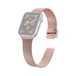 For Apple Watch Series 6 & SE & 5 & 4 40mm / 3 & 2 & 1 38mm Milanese Stainless Steel Watchband(Rose Pink)