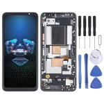 OLED Material LCD Screen and Digitizer Full Assembly With Frame for Asus ROG Phone 5 ZS673KS (Black)