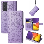 For Galaxy  A82 5G Cute Cat and Dog Embossed Horizontal Flip Leather Case with Holder & Card Slots & Wallet & Lanyard(Purple)