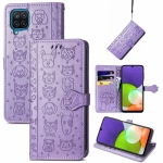 For Galaxy A22 4G Cute Cat and Dog Embossed Horizontal Flip Leather Case with Holder & Card Slots & Wallet & Lanyard(Purple)