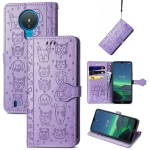 For Nokia 1.4 Cute Cat and Dog Embossed Horizontal Flip Leather Case with Holder & Card Slots & Wallet & Lanyard(Purple)