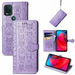 For Motorola MOTO G Stylus 5G Cute Cat and Dog Embossed Horizontal Flip Leather Case with Holder & Card Slots & Wallet & Lanyard(Purple)