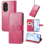 For Honor 50 Four-leaf Clasp Embossed Buckle Mobile Phone Protection Leather Case with Lanyard & Card Slot & Wallet & Bracket Function(Magenta)