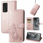 For Honor V40 5G Four-leaf Clasp Embossed Buckle Mobile Phone Protection Leather Case with Lanyard & Card Slot & Wallet & Bracket Function(Rose Gold)