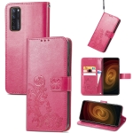 For ZTE AXON 20 5G Four-leaf Clasp Embossed Buckle Mobile Phone Protection Leather Case with Lanyard & Card Slot & Wallet & Bracket Function(Magenta)