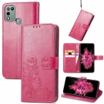 For INFINIX Hot 10 Play Four-leaf Clasp Embossed Buckle Mobile Phone Protection Leather Case with Lanyard & Card Slot & Wallet & Bracket Function(Magenta)