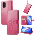 For Blackview A90 Four-leaf Clasp Embossed Buckle Mobile Phone Protection Leather Case with Lanyard & Card Slot & Wallet & Bracket Function(Magenta)