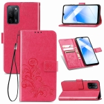 For OPPO A55 5G Four-leaf Clasp Embossed Buckle Mobile Phone Protection Leather Case with Lanyard & Card Slot & Wallet & Bracket Function(Magenta)