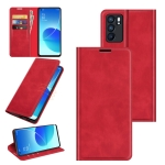 For OPPO Reno6 5G Retro-skin Business Magnetic Suction Leather Case with Holder & Card Slots & Wallet(Red)