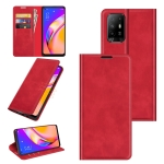 For OPPO A94 5G / F19 Pro+ 5G / Reno5 Z Retro-skin Business Magnetic Suction Leather Case with Holder & Card Slots & Wallet(Red)
