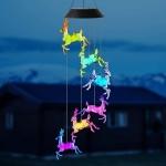 Outdoor Solar Christmas Deer LED Bell Light Garden Festival Colorful Atmosphere Light(Black Shell )