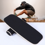 Surfing Ski Balance Board Roller Wooden Yoga Board, Specification: 06B Black Sand