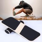 Surfing Ski Balance Board Roller Wooden Yoga Board, Specification: 07B Black Sand