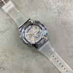 SANDA 9004 Men Symphony Dual Display Synchronous Outdoor Luminous Electronic Multifunction Watch(Transparent Silver)