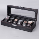 Carbon Fiber PU Leather Watch Box Jewelry Storage Box Packaging Box, Style: 6 Watch Positions