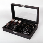 Carbon Fiber PU Leather Watch Box Jewelry Storage Box Packaging Box, Style: 6 + 3