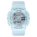 SANDA Outdoor Leisure Waterproof Multifunctional Luminous Electronic Watch(Sand Haze Blue Women)