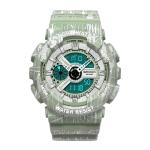 SANDA Three-Pin Luminous Outdoor Waterproof Multifunctional Couple Electronic Watch(Women Line Matcha Green)