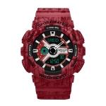 SANDA Three-Pin Luminous Outdoor Waterproof Multifunctional Couple Electronic Watch(Women Line Red)