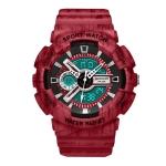 SANDA Three-Pin Luminous Outdoor Waterproof Multifunctional Couple Electronic Watch(Men Line Red)