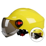 BYB 207 Men And Women Electric Motorcycle Adult Helmet Universal Hard Hat, Specification: Tea Color Short Lens(Yellow)