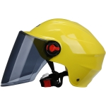 BYB 207 Men And Women Electric Motorcycle Adult Helmet Universal Hard Hat, Specification: Tea Color Long Lens(Yellow)