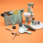 18 PCS / Set Simulation Haircut Kit Set Children Pretend Play Makeup Tools Wooden Toys(Haircase)