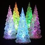 10 PCS Acrylic Christmas Tree Night Light Crystal 7 Colors Decoration Lamp 12cm Height