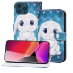3D Painted Pattern Horizontal Flip Leather Case with Holder & Wallet & Card slot & Lanyard For iPhone 13 Pro Max(Rabbit)