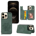 Mandala Embossed PU + TPU Case with Holder & Card Slots & Photo Frame & Hand Strap For iPhone 13(Green)