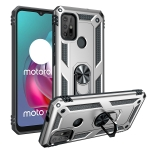 For Motorola Moto G30 / G10 Shockproof TPU + PC Protective Case with 360 Degree Rotating Holder(Silver)