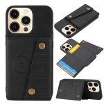 Double Buckle PU + TPU Shockproof Magnetic Protective Case with Card Slot & Holder For iPhone 13 Pro Max(Black)