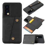 For OnePlus Nord 2 5G Double Buckle PU + TPU Shockproof Magnetic Protective Case with Card Slot & Holder(Black)