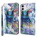 3D Painting Pattern Horizontal Flip TPU + PU Leather Case with Holder & Card Slots & Wallet For iPhone 13(Watercolor Owl)