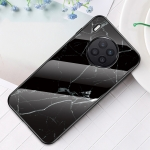 For Huawei Nova 8i Marble Pattern Glass + TPU Protective Case(Black)