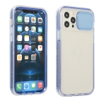 Sliding Camera Cover Design Shockproof TPU Frame + Clear PC Case For iPhone 11(Blue)