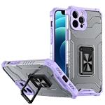 Armor Clear PC + TPU Shockproof Case with Metal Ring Holder For iPhone 13 Pro Max(Purple Transparent Grey)