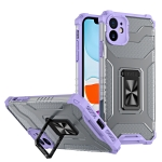 Armor Clear PC + TPU Shockproof Case with Metal Ring Holder For iPhone 11(Purple Transparent Grey)