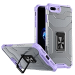 Armor Clear PC + TPU Shockproof Case with Metal Ring Holder For iPhone 8 Plus / 7 Plus(Purple Transparent Grey)