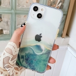 Flowing Golden Marble TPU Phone Protective Case For iPhone 13(Green)