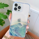 Flowing Golden Marble TPU Phone Protective Case For iPhone 13 Pro Max(Green)