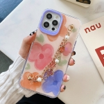 Flower Pattern + Bracelet TPU Phone Protective Case For iPhone 12 / 12 Pro(Multicolor Big Flower)