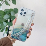 Flowing Golden Marble Pattern + Bracelet TPU Phone Protective Case For iPhone 12 / 12 Pro(Green)